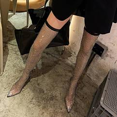 Новинка 2020 року, літні чоботи вище коліна на шпильці на високому каблуці зі стразами, порожнисті сітчасті чоботи, модні жіночі чоботи, великий розмір