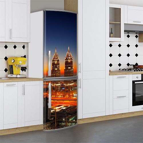 Виниловая наклейка на холодильник, Украшаем холодильник, Самоклейка, 180 х 60 см, Лицевая (holSS1_cn00345 Город)