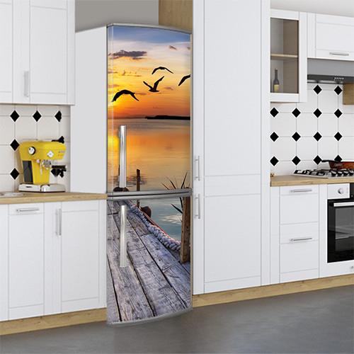 Виниловая наклейка на холодильник, Раскрасить холодильник, Самоклейка, 180 х 60 см, Лицевая (holSS1_mp11857 Море)