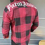 😜Рубашка - мужская теплая байковая рубашка с капюшоном (марсала), фото 2