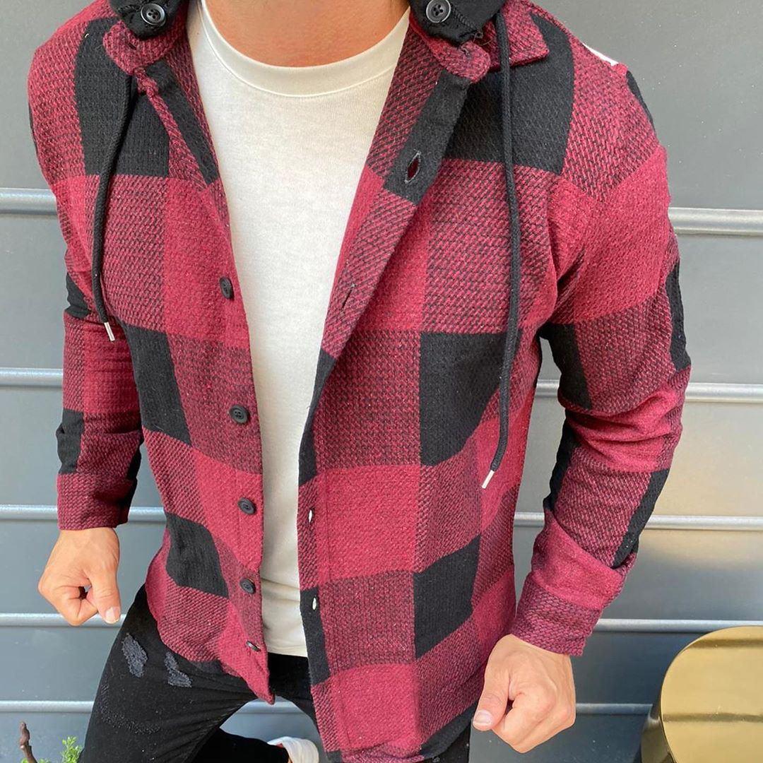 😜Рубашка - мужская теплая байковая рубашка с капюшоном (марсала)