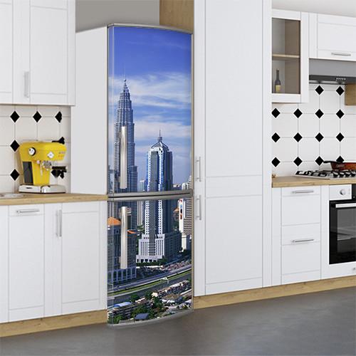 Виниловая наклейка на холодильник, Наклейки с небоскребами для холодильника, Самоклейка, 180 х 60 см, Лицевая (holSS1_cd00193 Город)