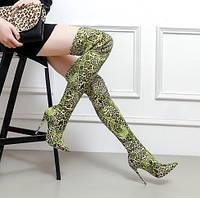 Новые зимние стрейч-сапоги большого размера на высоком каблуке 12cn с зеленым леопардовым принтом на высоком каблуке, носки, ботинки, фото 1