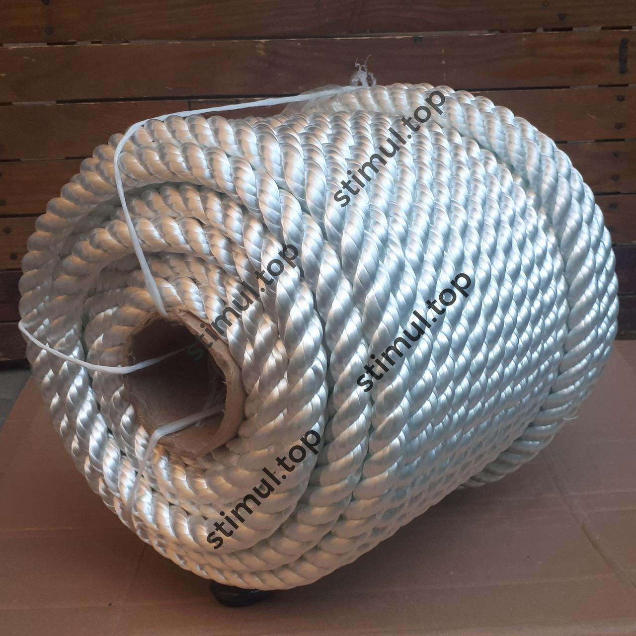 Канат полиамидный 40 мм (моток 25 метров) / Крученая веревка / Мотузка поліамідна кручена