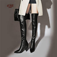 Высокие сапоги на толстом каблуке из воловьей кожи, весна 2019, новый стиль, кожаные ботинки выше колена с острым носком, флисовые модные европейские, фото 1