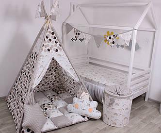 Детская палатка-вигвам с ковриком Коричневый  125х125х170 см