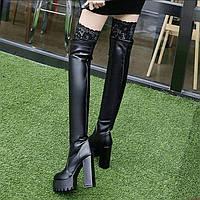 Кружевные сапоги выше колена на высоком каблуке на толстой платформе и толстой подошве женские длинные сапоги на очень высоком каблуке на тонкой, фото 1
