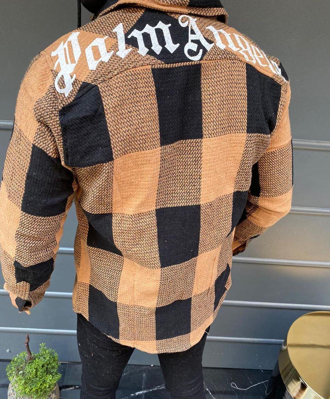 😜Рубашка - мужская теплая байковая рубашка с капюшоном (персиковая)