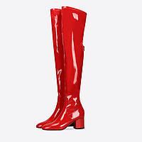 Youmaidi осень и зима новые сапоги выше колена на толстом каблуке красные лакированные женские сапоги модные на среднем каблуке модные сапоги больших, фото 1
