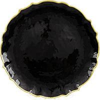 Блюдо сервировочное Black Paper декоративное Ø33см, подставная тарелка, стекло