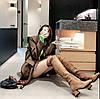Черевики Martin з тонким поперечним ремінцем і високим стовбуром, шкіряні високі чоботи, ботфорти на середньому каблуці, коричневі штани на шнурівці з