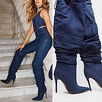 Youmaidi осенне-зимние новые сапоги на высоком каблуке на шпильке, высокие джинсовые сапоги, женская обувь больших размеров на заказ 43, фото 1