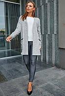 Женственный нарядный кардиган с карманами SEV-1226.3658 светло-серый, S-M