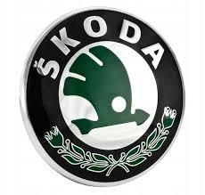 Эмблема Skoda 2 пукли 75мм пластик задняя