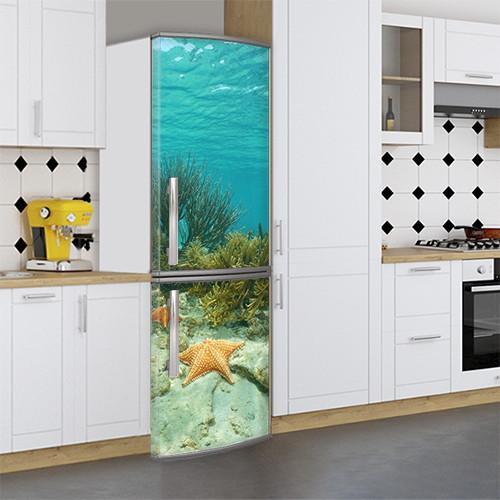 Виниловая наклейка на холодильник, Холодильники с рисунками, Самоклейка, 180 х 60 см, Лицевая (holSS1_wt10618 Море)