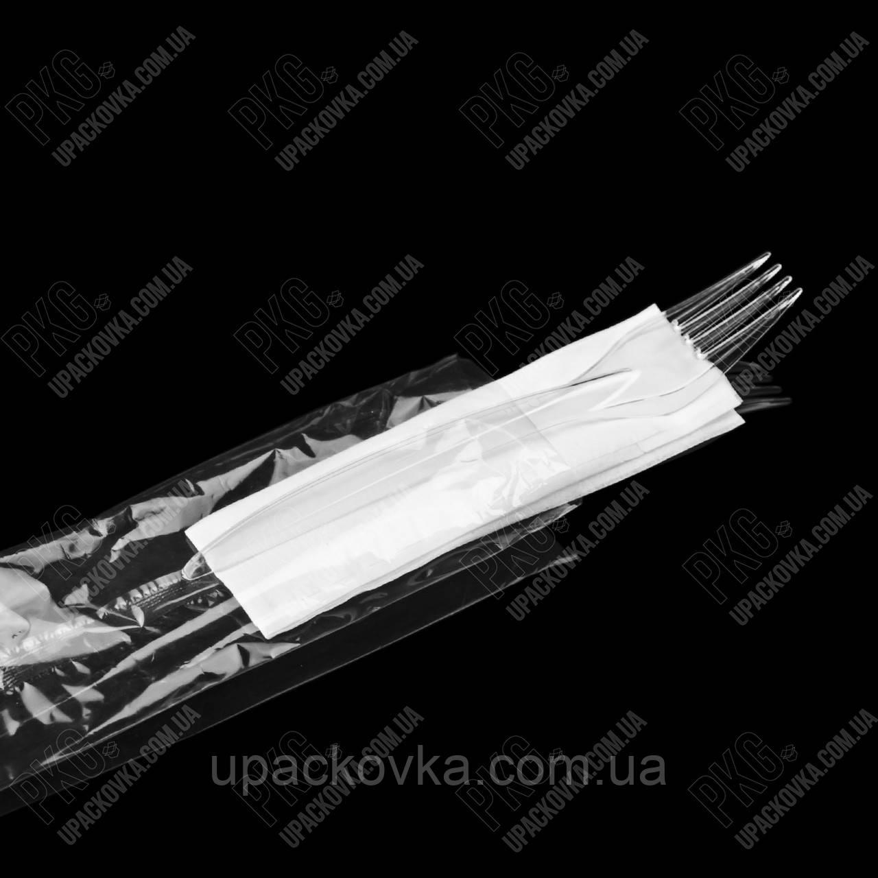 Набор одноразовой посуды (Вилка, салфетка) ПРОЗРАЧНЫЙ 250 шт/ящ. PL