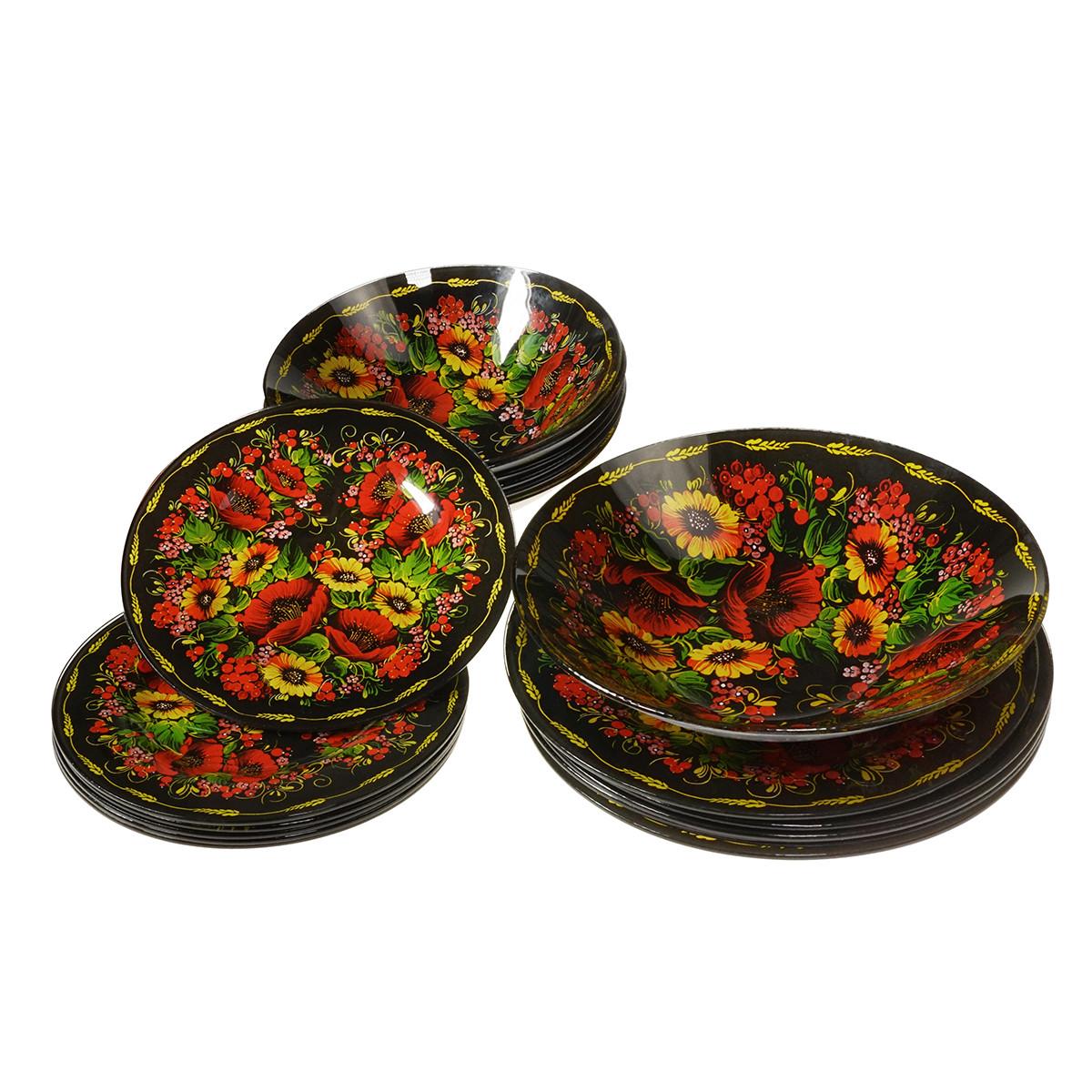 Набор посуды Семейные традиции - 19 тарелок из ударопрочного стекла с росписью (уценка)