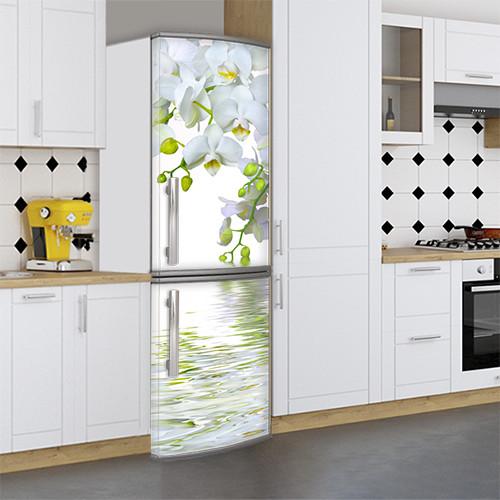 Виниловая наклейка на холодильник, 3д холодильник, наклейка с орхидеями, 180 х 60 см, Лицевая