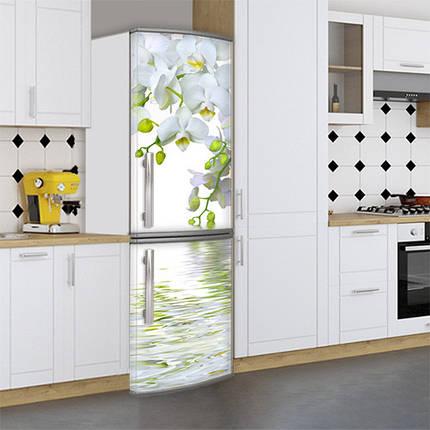Виниловая наклейка на холодильник, 3д холодильник, наклейка с орхидеями, 180 х 60 см, Лицевая, фото 2