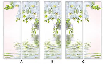Виниловая наклейка на холодильник, 3д холодильник, наклейка с орхидеями, 180 х 60 см, Лицевая, фото 3