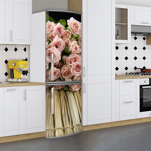 Виниловая наклейка на холодильник, Наклейки холодильник, Самоклейка, 180 х 60 см, Лицевая (holSS1_fl101707 Цветы)