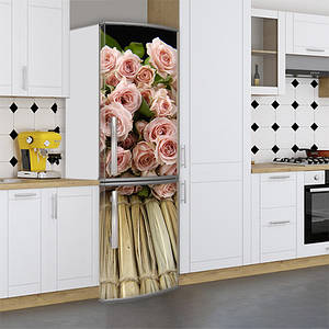 Виниловая наклейка на холодильник, розы, 180х60 см - Лицевая(В), с ламинацией