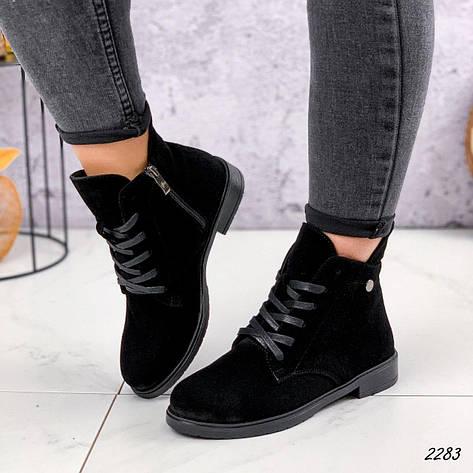 Черевики жіночі чорні, туфлі з НАТУРАЛЬНОЇ ЗАМШІ. Черевики жіночі чорні утеплені, фото 2