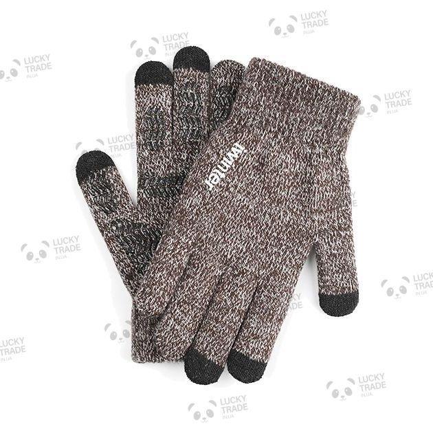 Перчатки iWinter Wool Plus для сенсорных экранов теплые женские Коричневый / Белый (D-Z01) [1887]