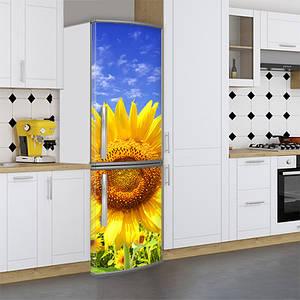 Наклейка на холодильник, подсолнухи, 180х60 см - Лицевая(В), с ламинацией