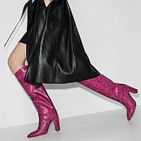 Стильные яркие женские сапоги на толстом каблуке змеиная кожа 21 расцветки 33-48 размер, фото 1