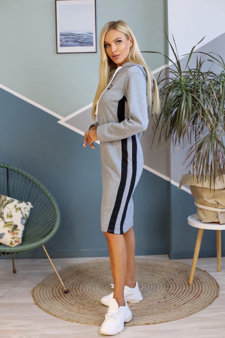 Женское зимнее спортивное теплое миди платье с капюшоном,рукав длинный (трехнитка на флисе) 2 цвета (батал)