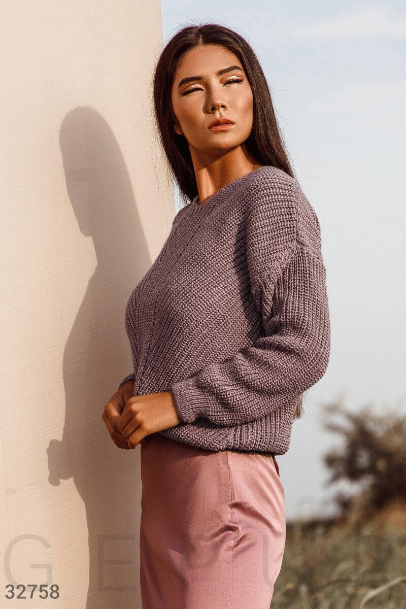 Укороченый вязаный пуловер коричневый