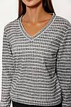 Трикотажный пуловер в полоску серый, фото 3