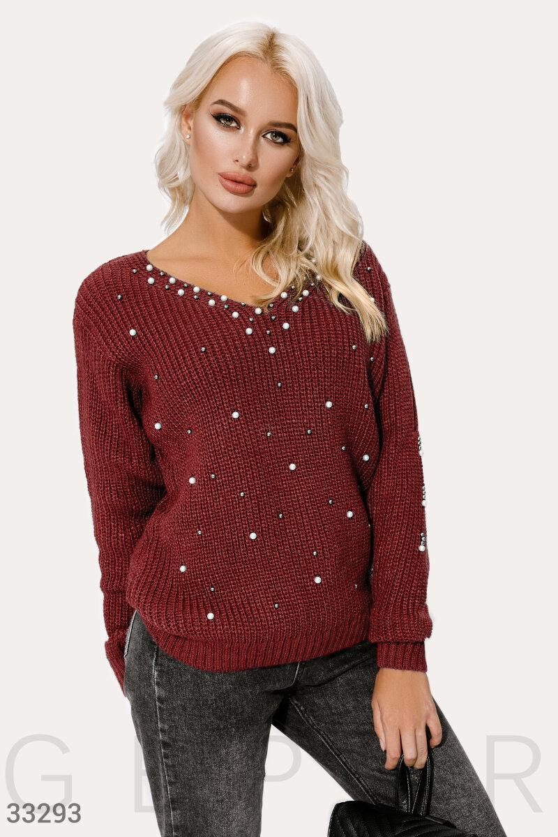 Вязаный пуловер с жемчужным декором бордовый
