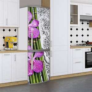 Виниловая наклейка на холодильник, цветы на бамбуке, 180х60 см - Лицевая(В), с ламинацией