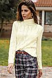 Вязаный свитер с высоким воротником белый, фото 2