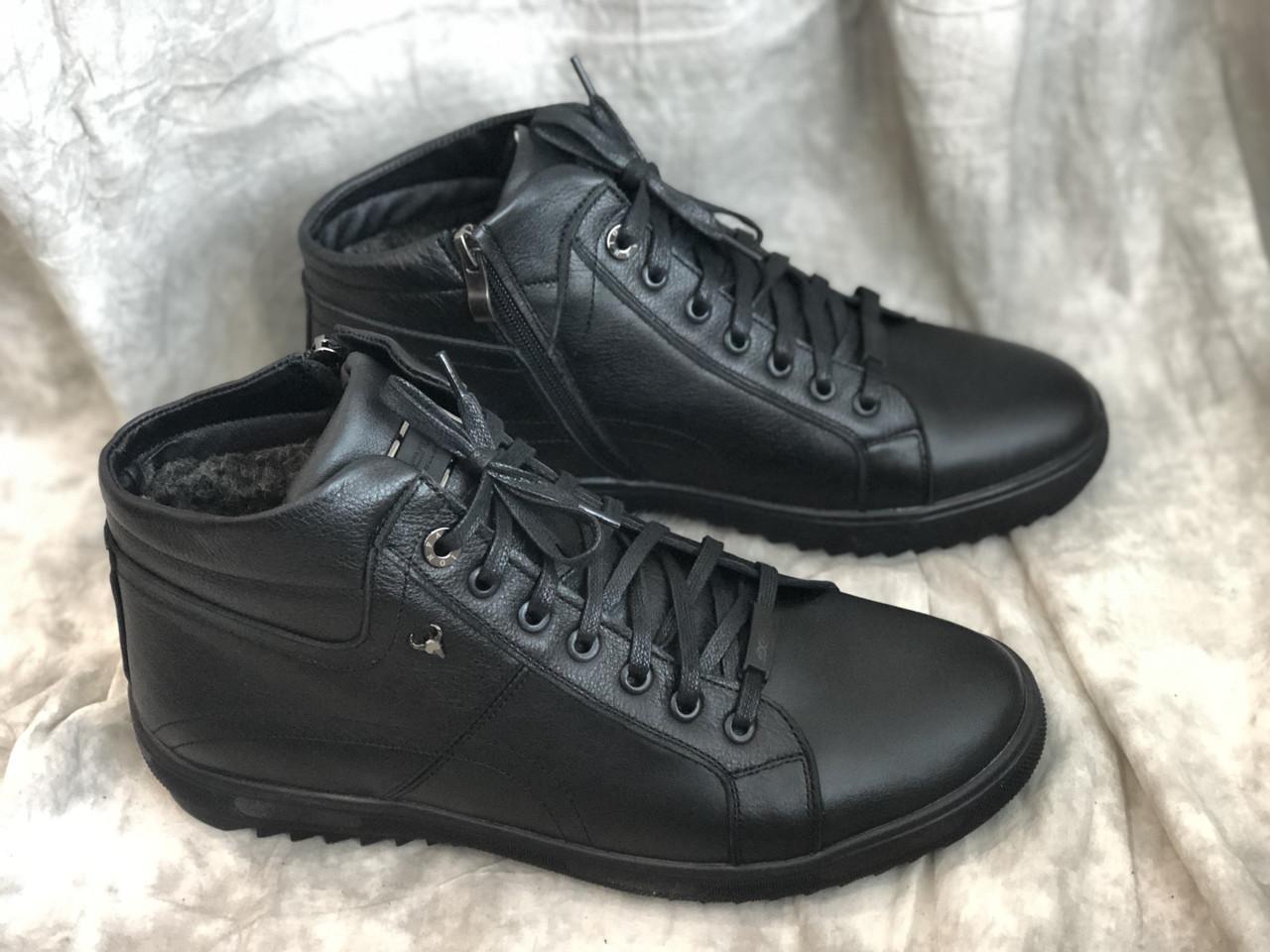 Зимние ботинки мужские с натуральной кожи 478 ч/к размеры 40,41,44,45