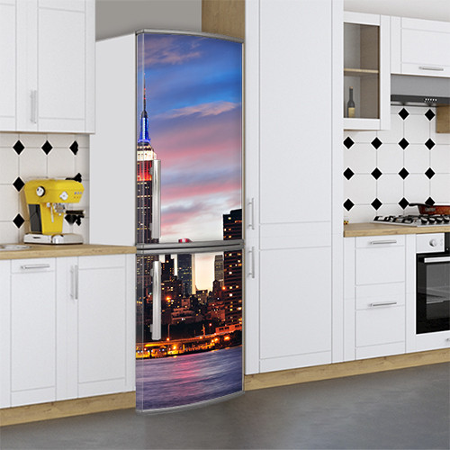 Виниловая наклейка на холодильник, Защитная пленка на холодильник, Самоклейка, 180 х 60 см, Лицевая (holSS1_cn00302 Город)