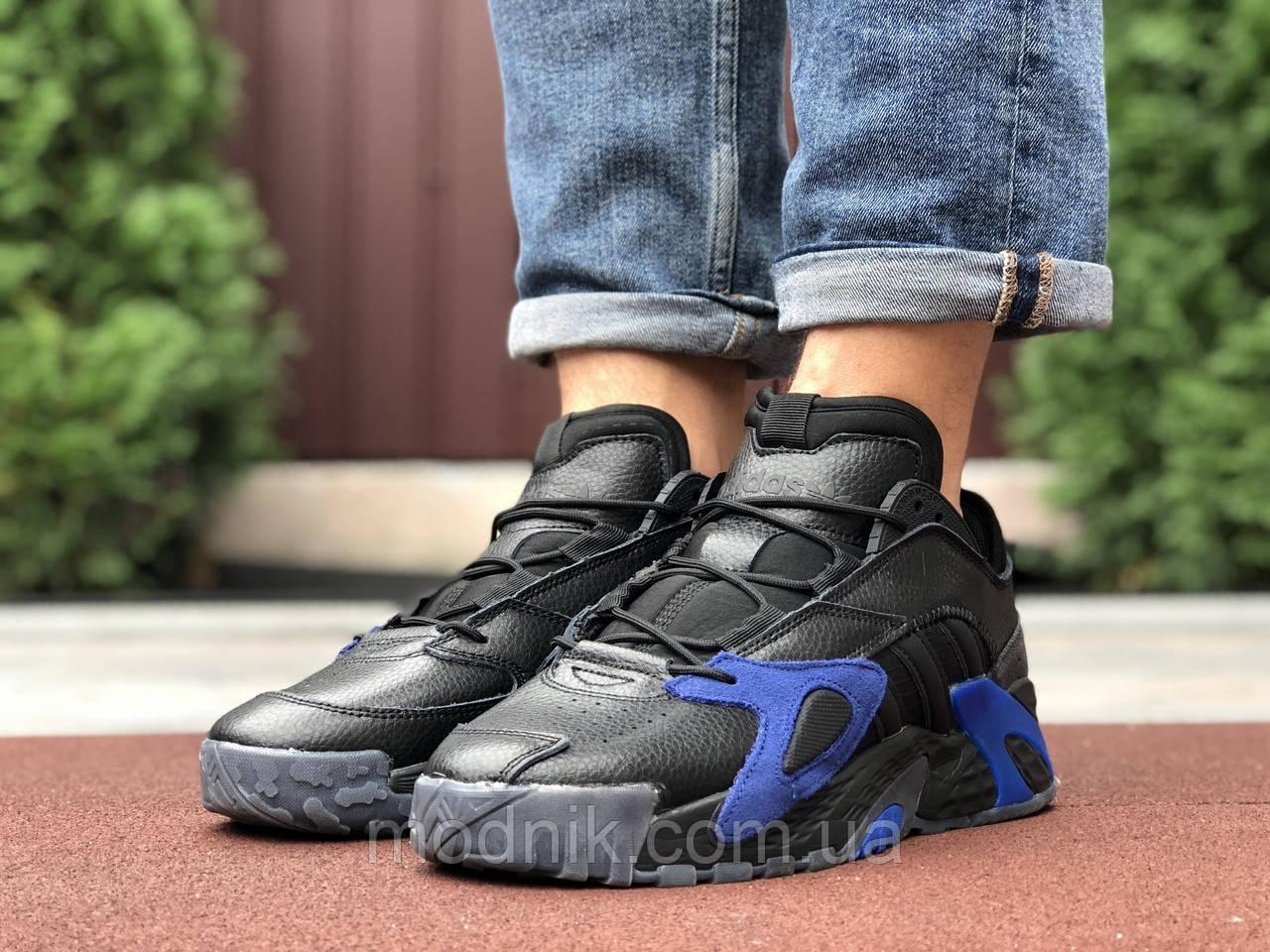 Мужские кроссовки Adidas Streetball (черно-синие) 9862