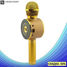 Микрофон караоке Wster WS-668 - беспроводной Bluetooth микрофон-колонка со cветомузыкой, слотом USB и FM, фото 2