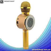 Микрофон караоке Wster WS-668 - беспроводной Bluetooth микрофон-колонка со cветомузыкой, слотом USB и FM, фото 3