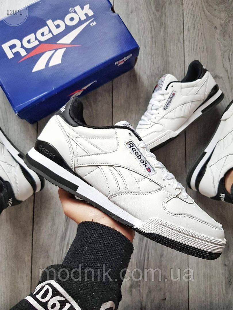 Мужские кроссовки Reebok Classiс White/Black (бело-черные) 530PL