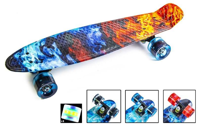 """Penny Board """"Огонь и лед"""" Светящиеся колеса."""