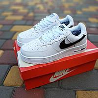 Мужские зимние кроссовки Nike Air Force (бело-черные) 3572