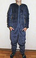 Дитячий комбінезон -кигуруми махровий теплий сірий для хлопчика р. 34-40