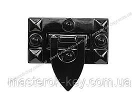 Замок сумковий 65-175 розмір 26*46мм Темний колір-нікель