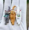 Брошь брошка значок кот кошка котенок 3 кота металл эмаль новый год, фото 5