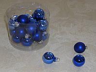 Новогодние стеклянные шарики 2,0 см 3 шт (разные)