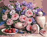 Картина по номерах ArtStory Чайні троянди 40х50см AS0006 розпис за номерами набір для розпису, фарби та пензлі