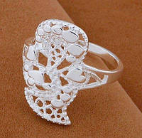 Посеребрённое ажурное кольцо 925, 17 р. Илона, фото 1